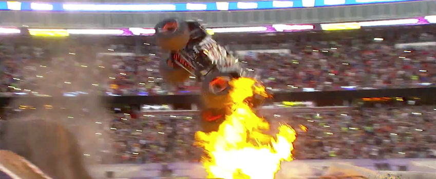 Flaming Monster Truck Pulls Off Double Back Flip