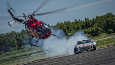 Felix Baumgartner and Kuba Przygoński perform/s at the Red Bull Heli Drifting, Poland on June 15th 2015