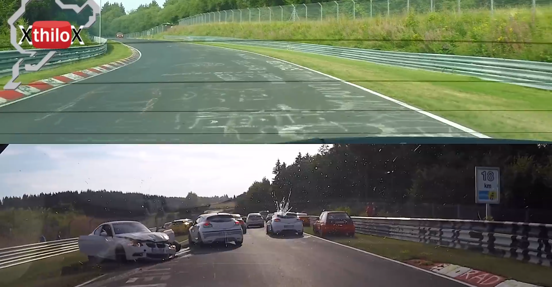 Driver Shows Off His Slalom Style Avoiding 'Ring Pile-Up