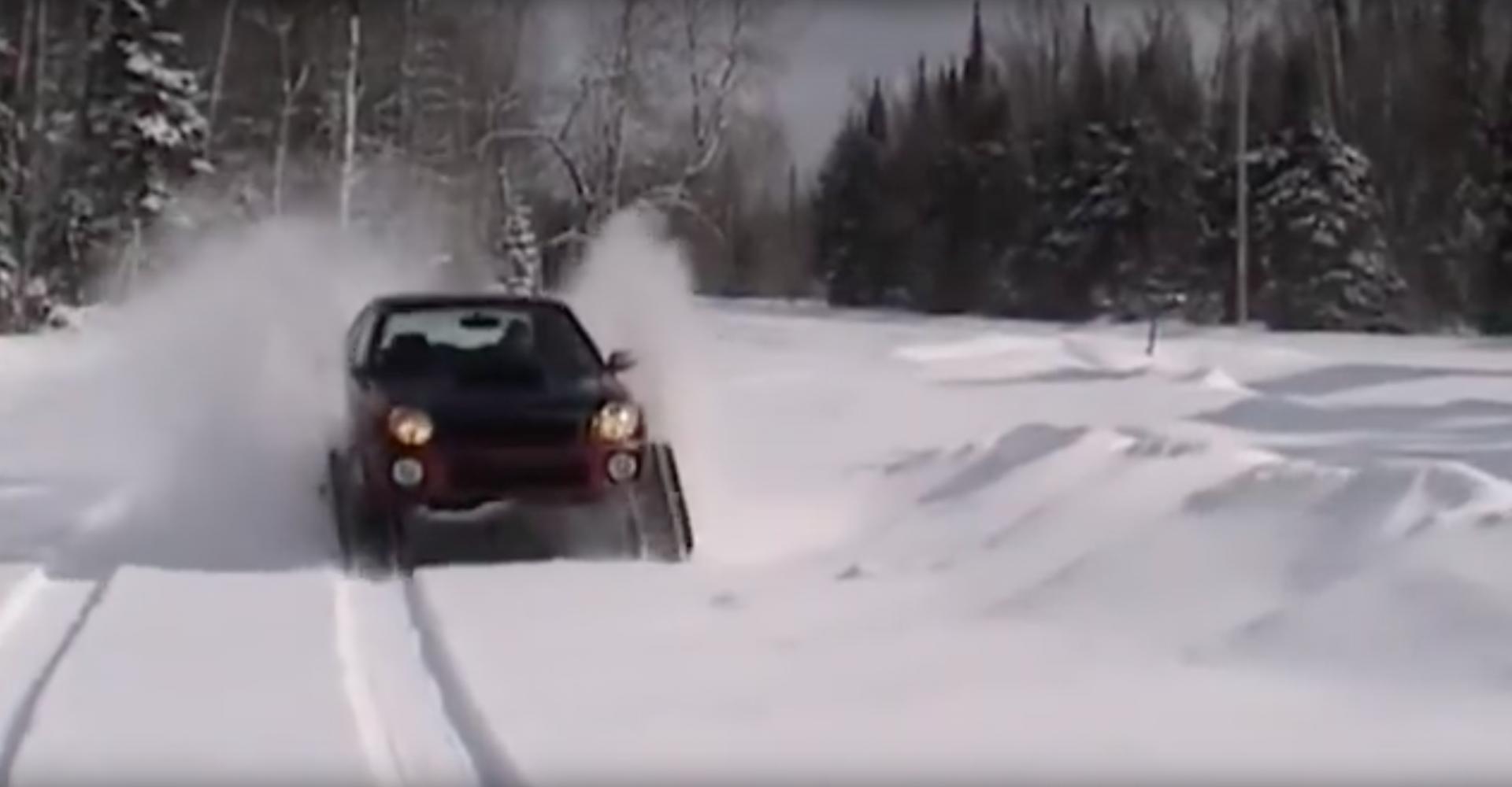 Tracked Subaru Impreza Impresses On Powder