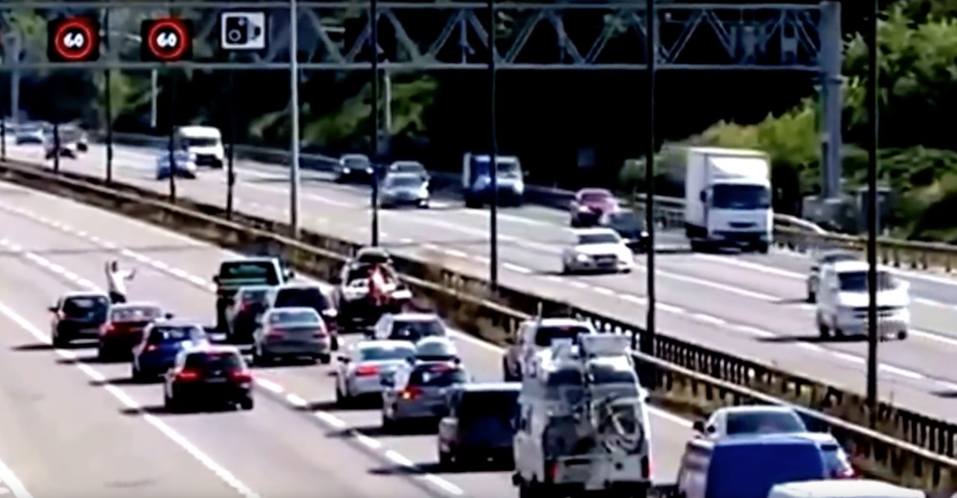 Barefoot Man Stops Rush Hour Motorway Traffic