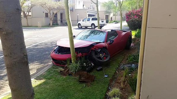Ferrari Takes On Tree, Tree Wins