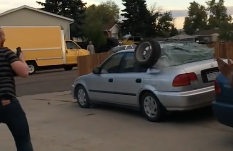 Watch Idiots Explode Airbag And Send Tyre Into Orbit
