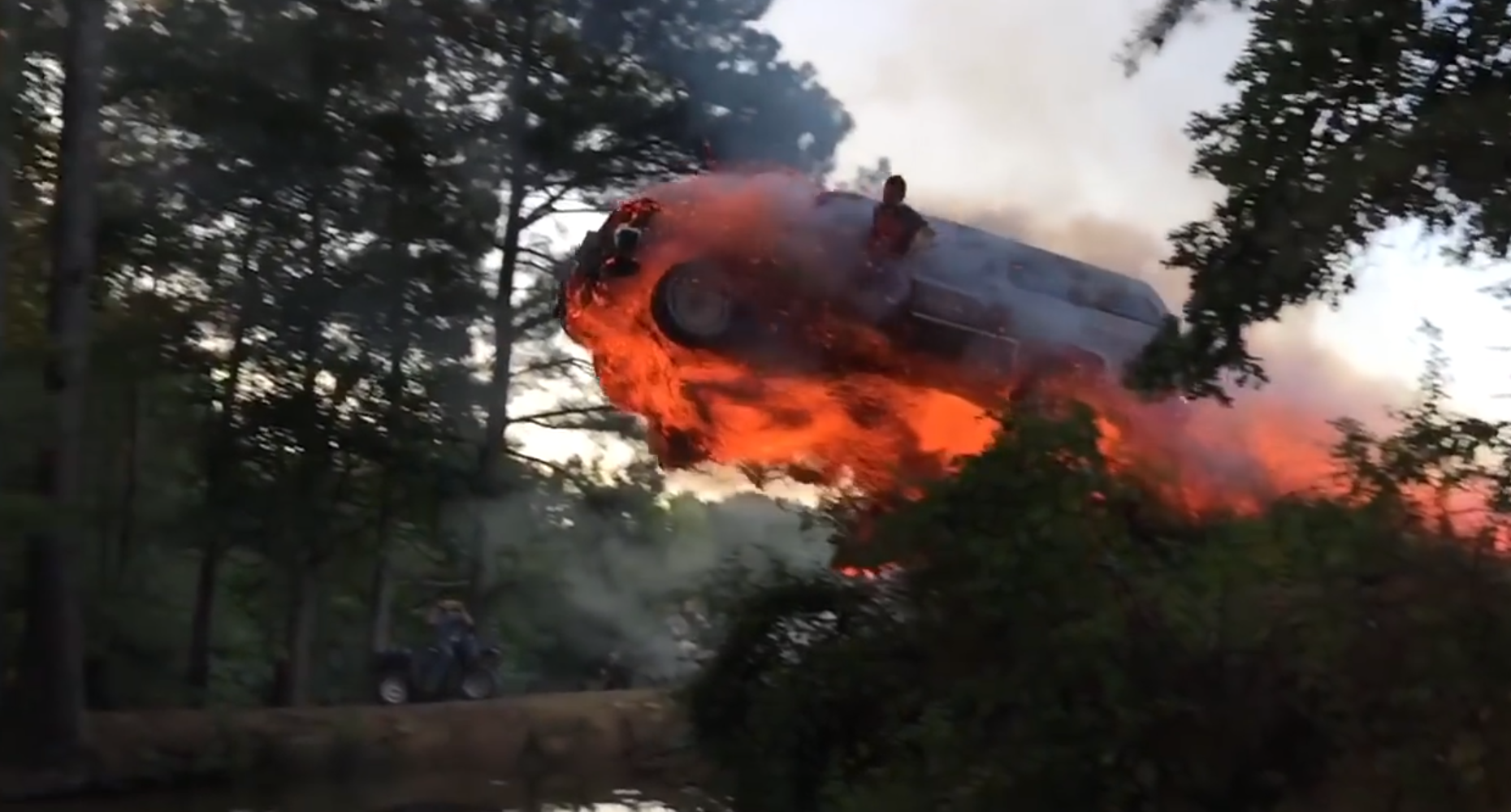 Mad Americans Set Fire To Car, Drive Off Big Ramp