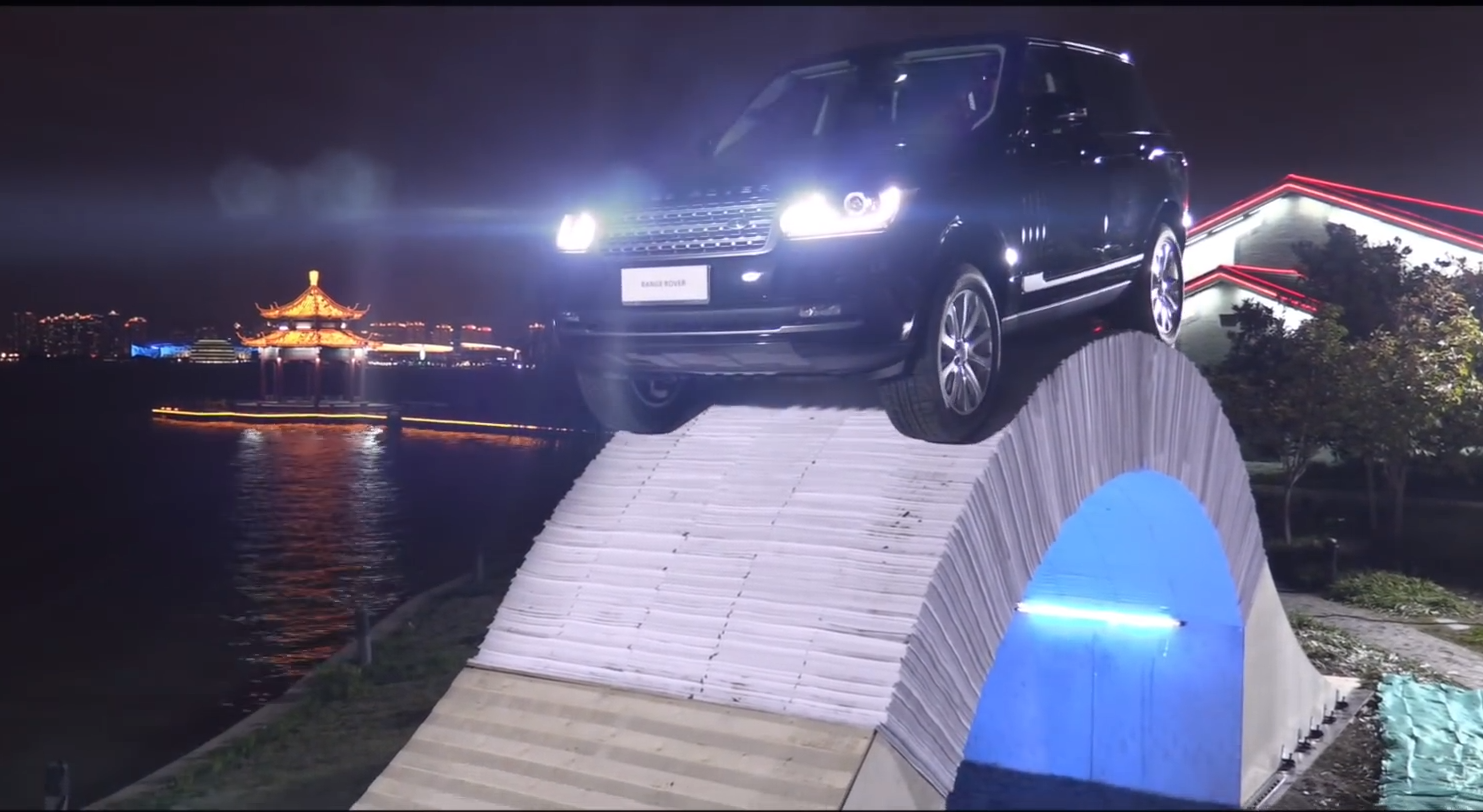 Range Rover Marks Its 45th Anniversary With Paper Bridge Stunt And It's Incredible
