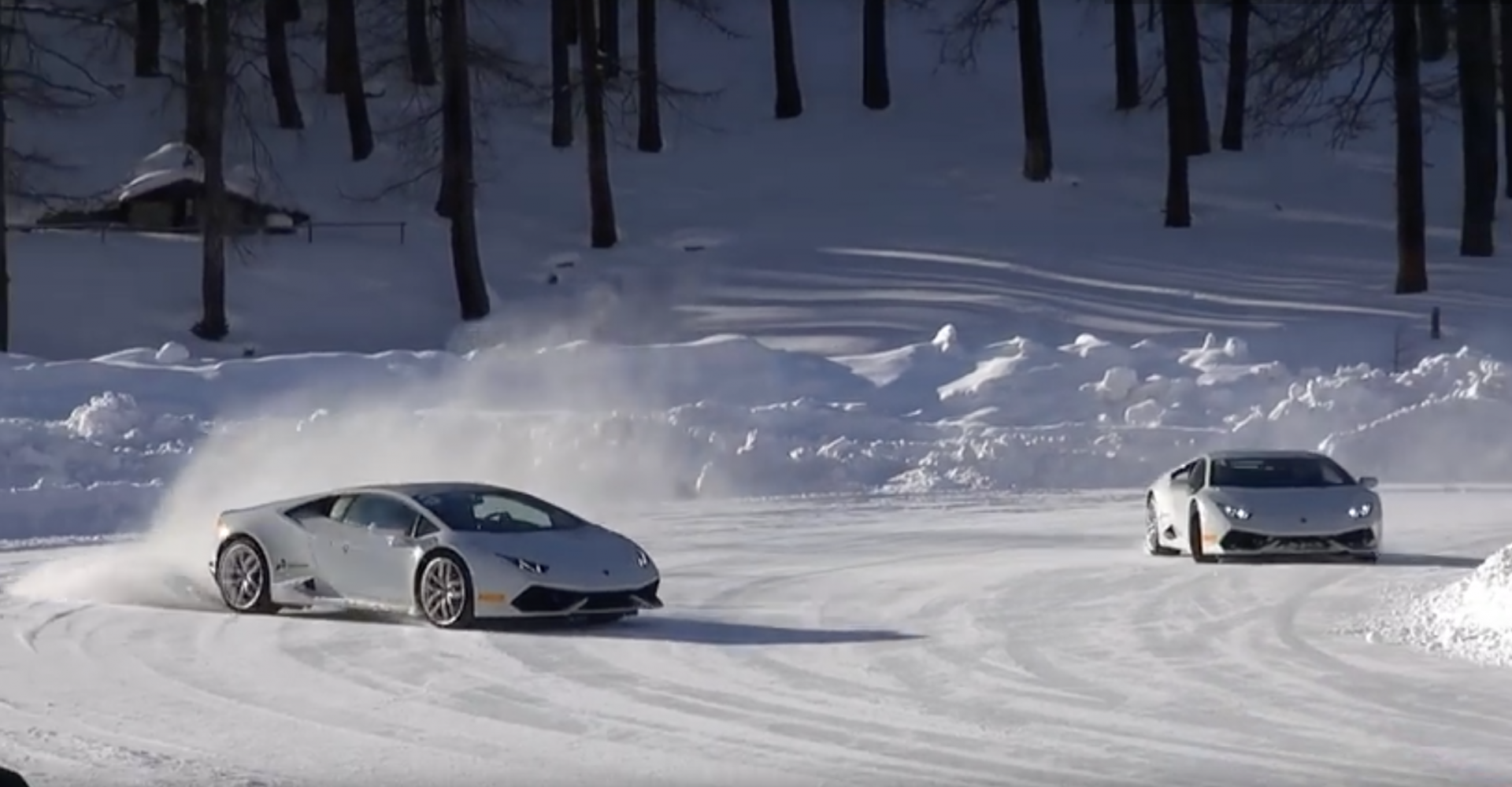 Winter Can't Get Any Better Than Lamborghini Snow Drifting
