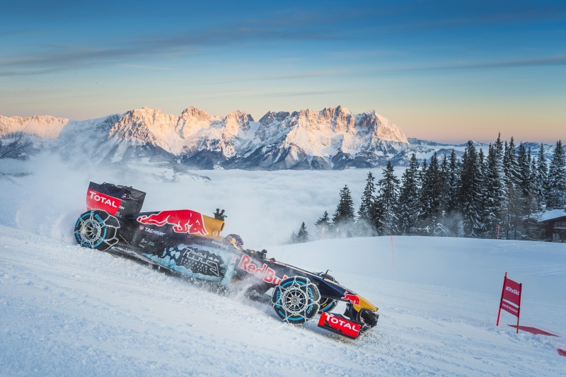 Max Verstappen performs during the F1 Showrun at the Hahnenkamm in Kitzbuehel, Austria on Jannuary 14, 2016.