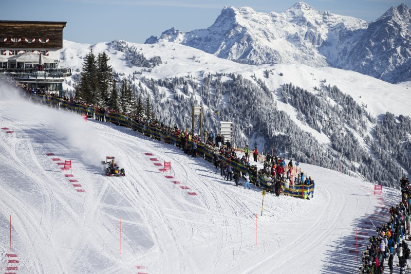 Max Verstappen performs during the F1 Showrun at the Hahnenkamm in Kitzbuehel, Austria on January 14, 2015