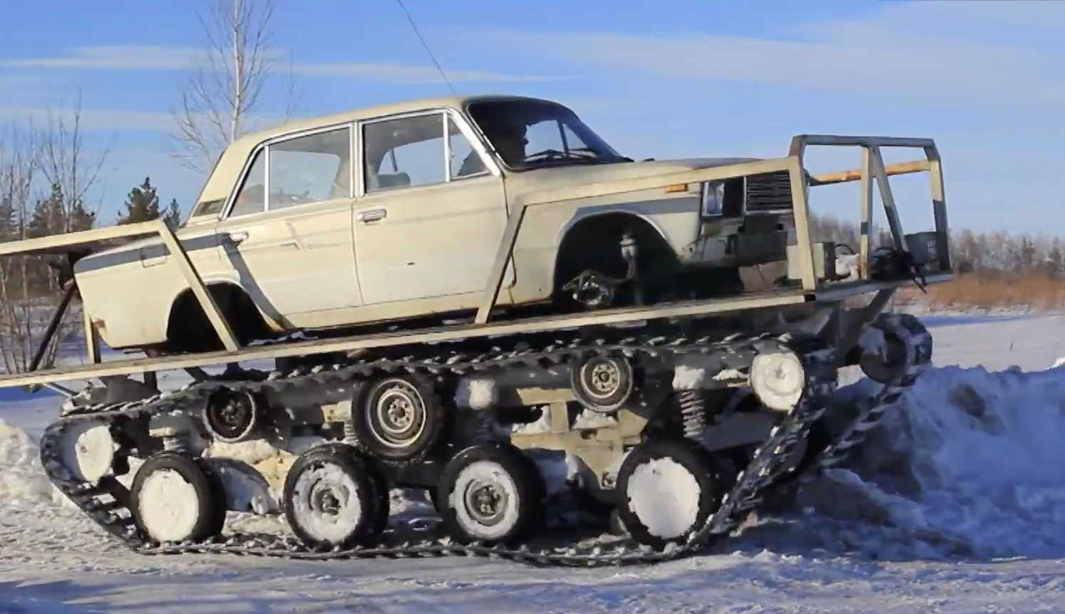 This Tank Track Conversion Looks Like A Lada Lada Laughs