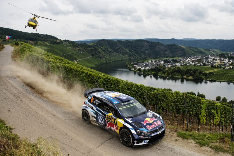 Andreas Mikkelsen performs during FIA World Rally Championship 2016 Germany in Trier, Germany on August 19, 2016