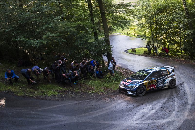 Sebastien Ogier performs during FIA World Rally Championship 2016 Germany in Trier, Germany on August 20, 2016