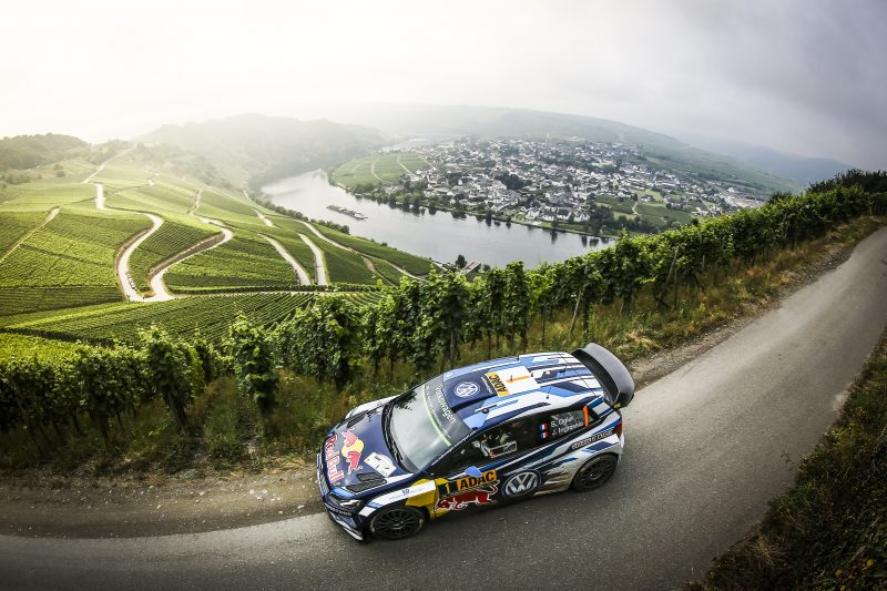 Sebastien Ogier performs during FIA World Rally Championship 2016 Germany in Trier, Germany on August 19, 2016