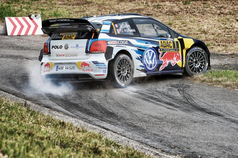 Sebastien Ogier and Julien Ingrassia perform during FIA World Rally Championship 2016 Germany in Trier, Germany on August 18, 2016