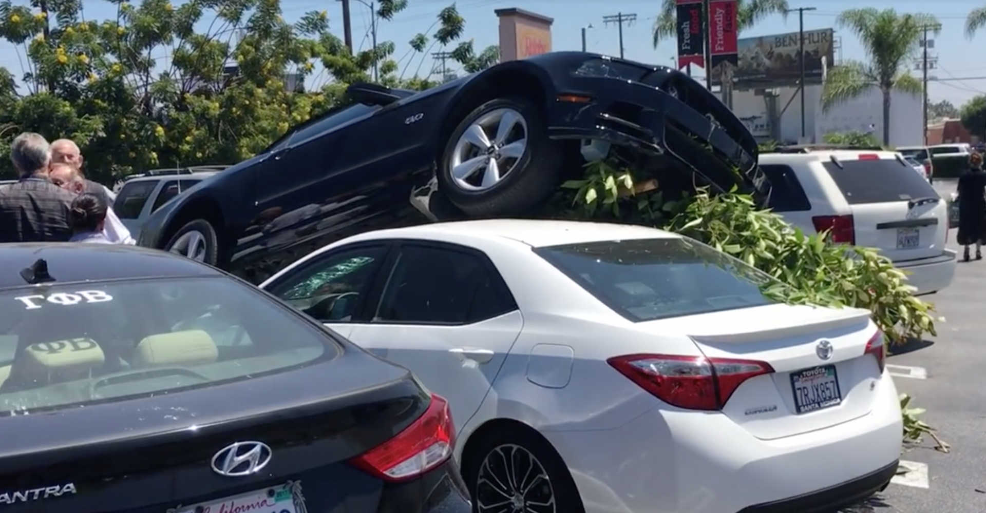 Mustang Mounts Innocent Toyota As Driver Tries To Park Muscle Car ...