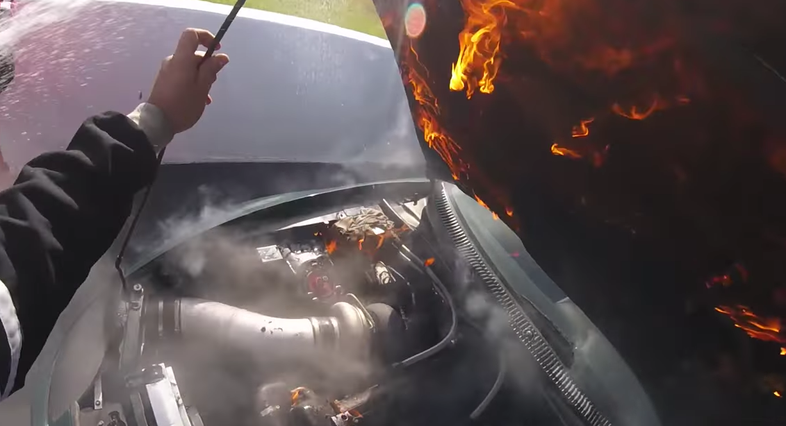 Drag Racer Stays Calm As His Car Blows Up Mid-Race