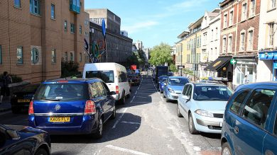 Commuters on Upper Maudlin Street in Bristol 24 hours before the England Vs Slovenia game was due to be played.