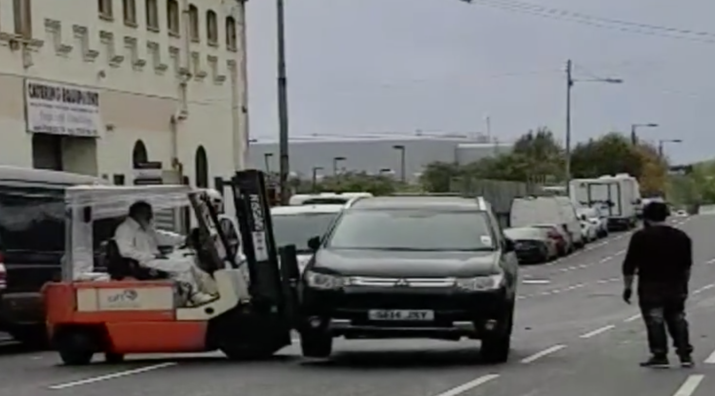 'Badly Parked' Car Shifted By Forklift Truck