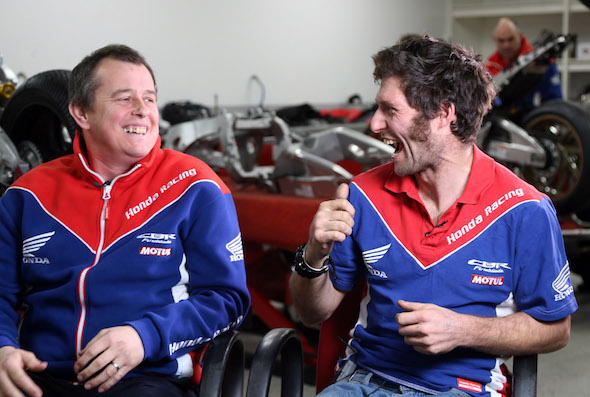 PACEMAKER, BELFAST, 16/1/2017: Guy Martin and teammate John McGuinness chat about the new CBR1000RR SP2 Honda Fireblade they will race in 2017. PICTURE BY STEPHEN DAVISON