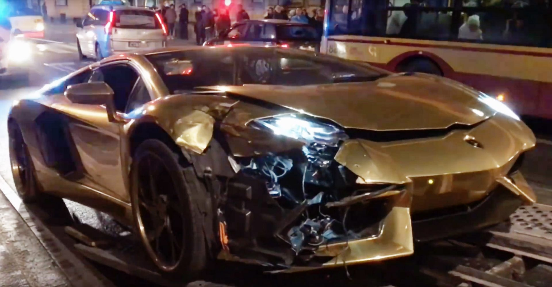 Lamborghini Aventador Is Wrecked In Collision