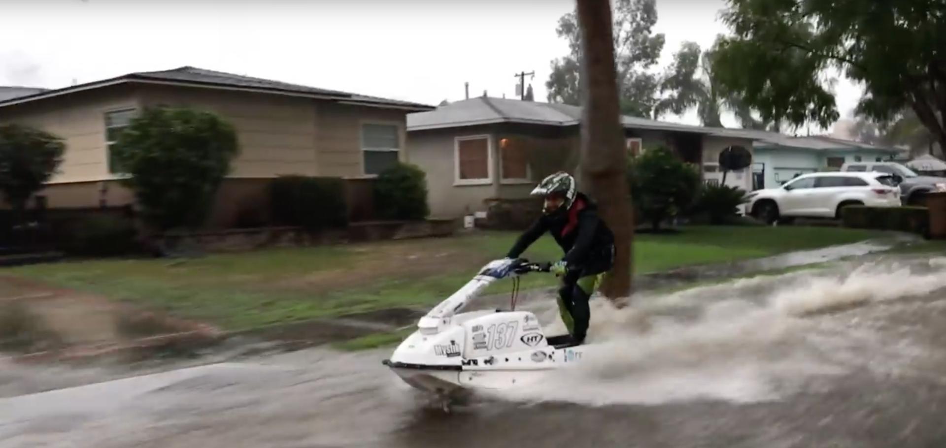 Jet Skier Mark Gomez Takes To LA's Flooded Roads