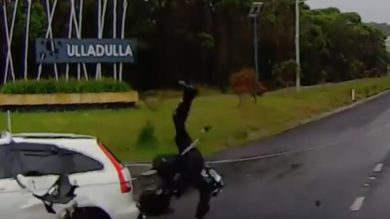 Biker Manages To Get Up After Horror Crash