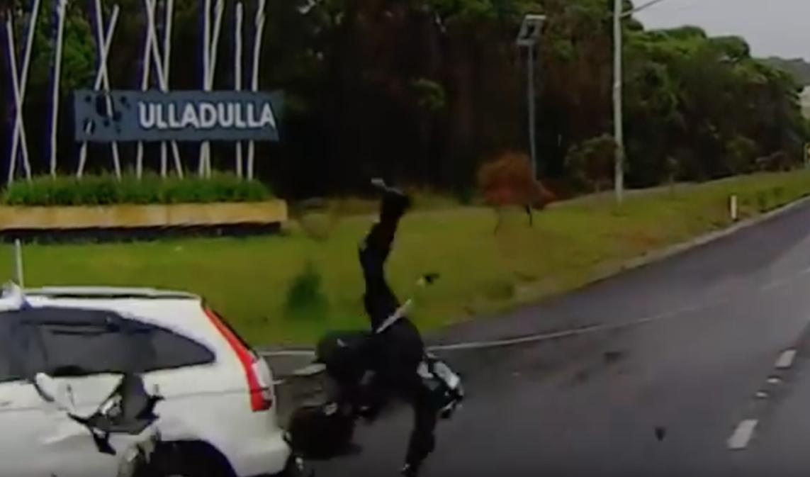 Biker Manages To Get Up After Horror Crash