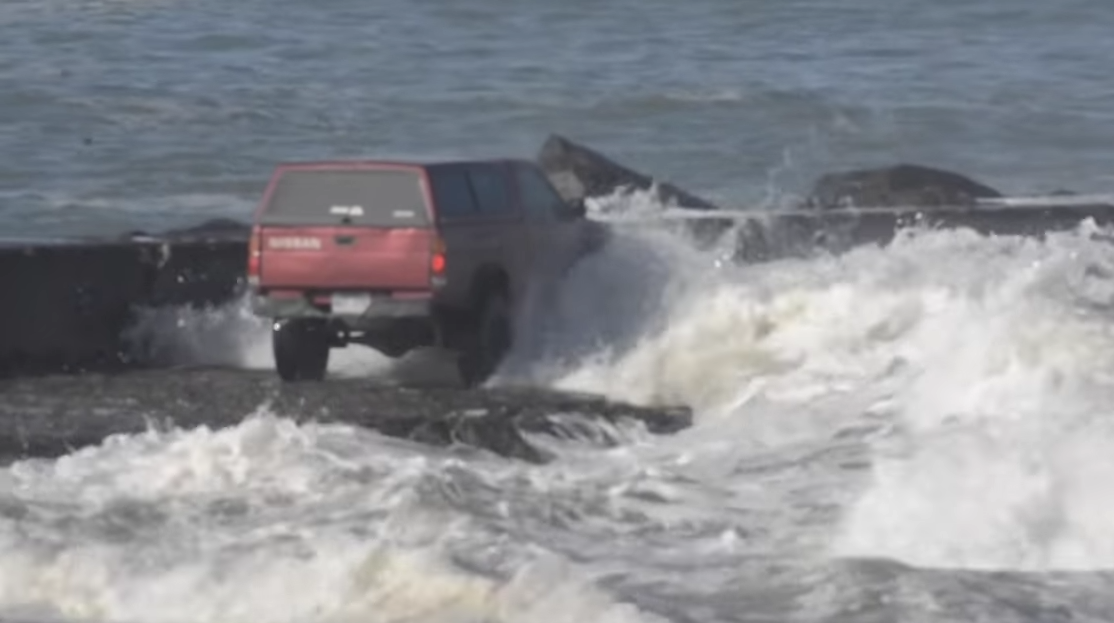 Idiot In Pick-up Truck Gets Stranded At Sea