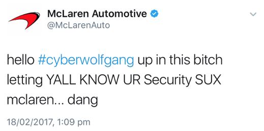 McLaren Twitter hack