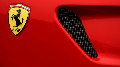 A general view of a Ferrari badge on a car in Manchester.