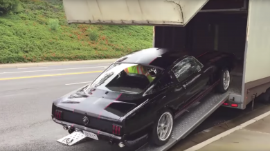 Delivery Driver Crashes Mustang While Loading It On To Trailer