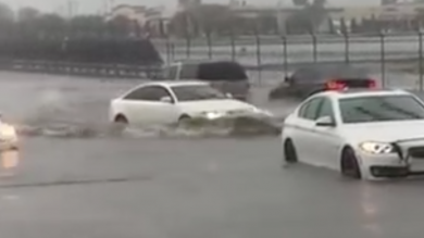 Brave/Foolhardy Audi Driver Ploughs Through Floodwater And Emerges Unscathed