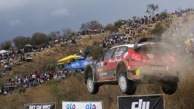 Kris Meeke (GB) performs during the FIA World Rally Championship 2017 in Leon, Mexico on March 12, 2017
