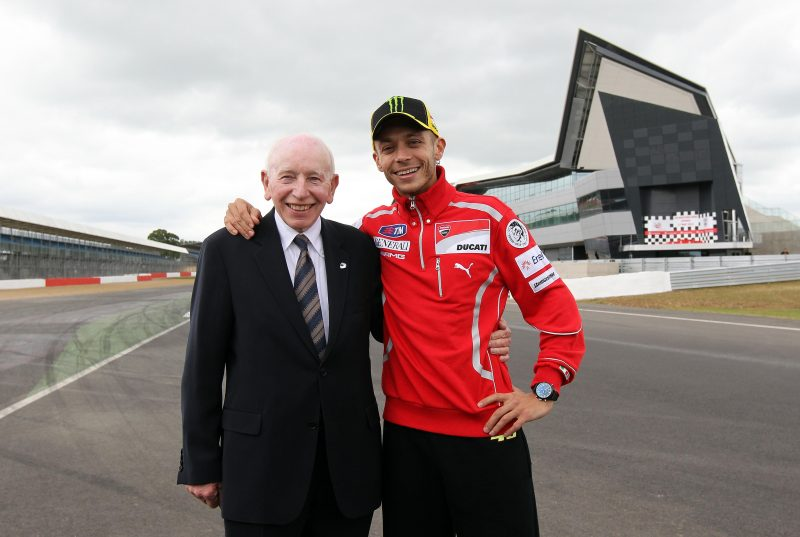 John Surtees with Valentino Rossi at the opening of the new Silverstone Wing in May 2011