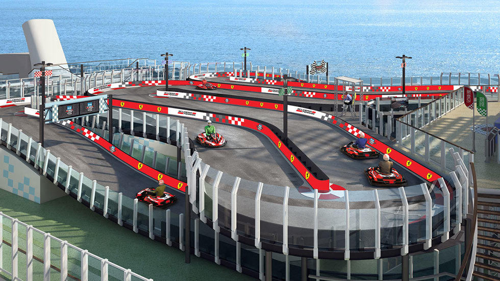 Ferrari Creates Karting Track Aboard Luxury Cruise Ship