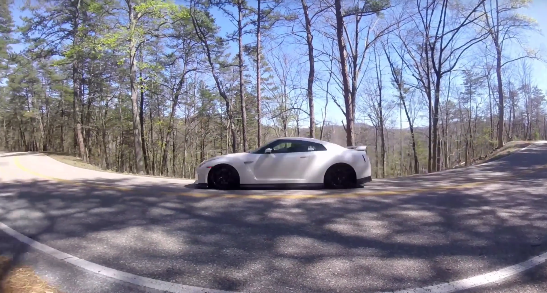 Nissan GT-R Driver Loses Control On Mountain Road