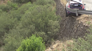 Barrier Saves Rally Car From Falling Off Cliff