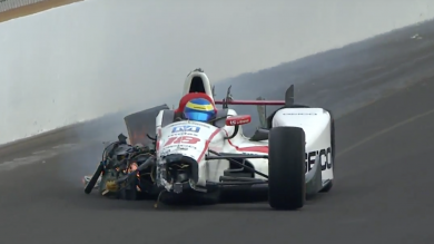 Sebastien Bourdais crash Indianopolis 500