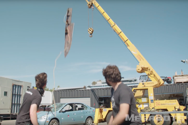 Toyota Prius Gets Massive Knife Plunged Into It From On High