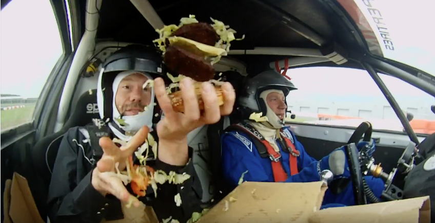 Here's why you shouldn't make a burger in a rally car