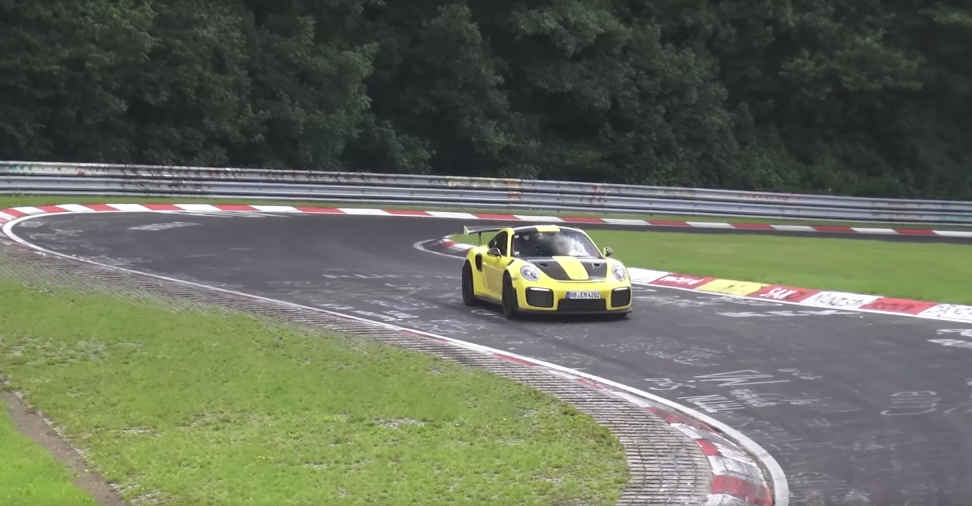 Bright yellow Porsche 911 GT2 RS spotted at the 'Ring – and boy is it fast