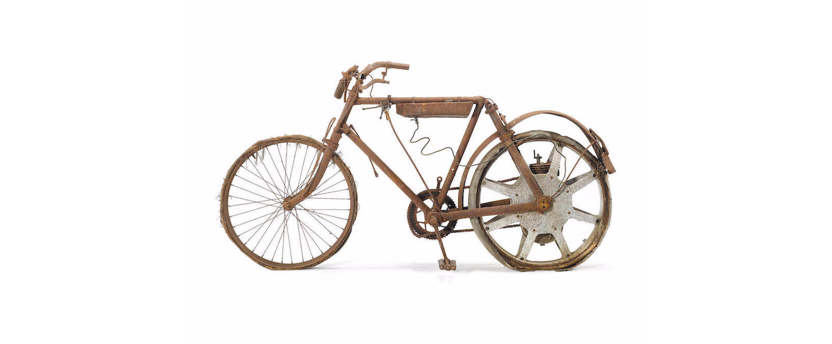 Century-old and rather rusty motor bicycle is heading to auction