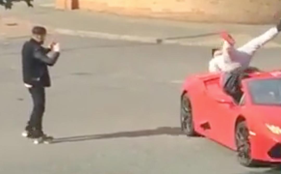 Wannabe rapper falls off Lamborghini