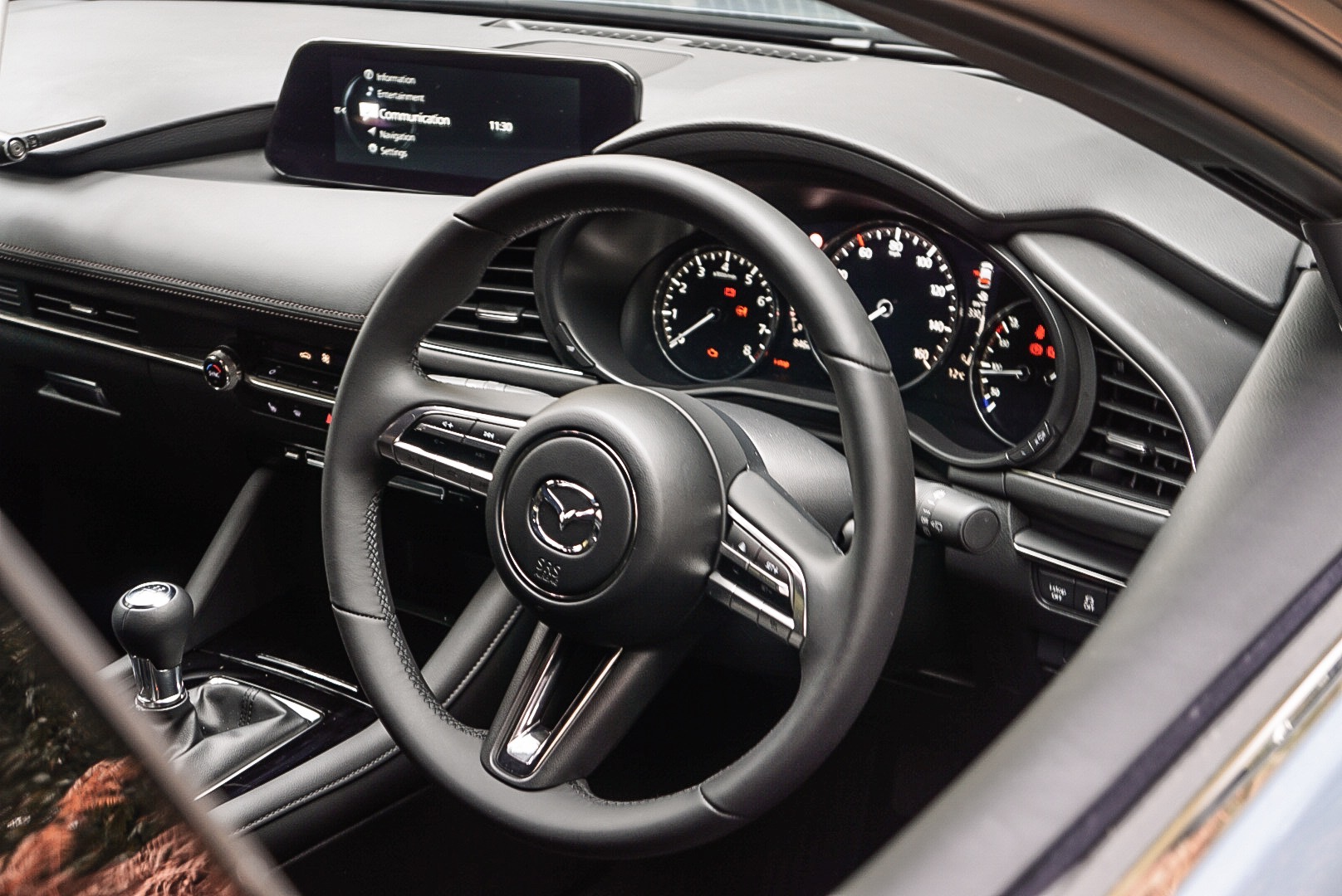 The interior of the Mazda3 is solidly built