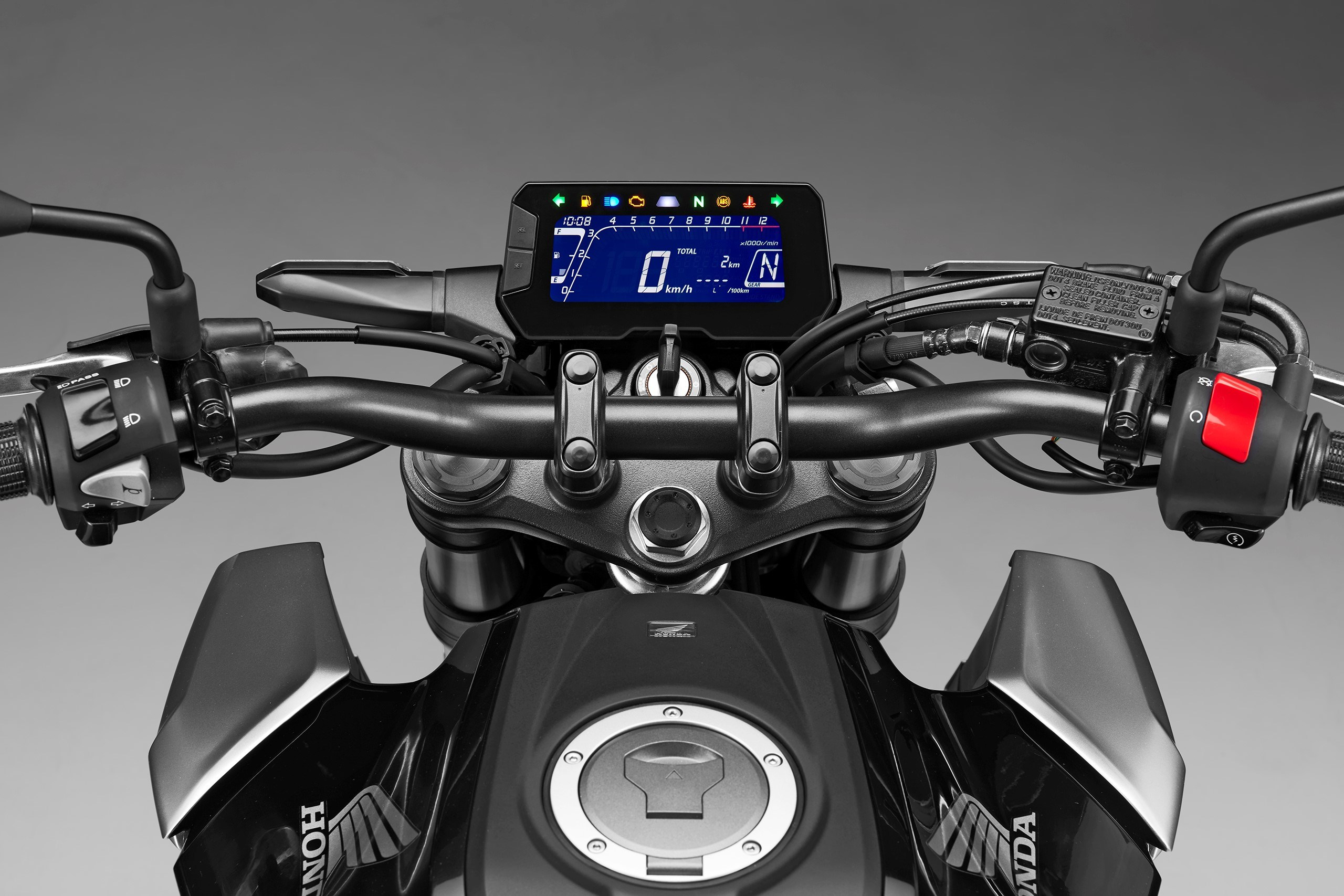 A large LCD screen relays key information to the rider