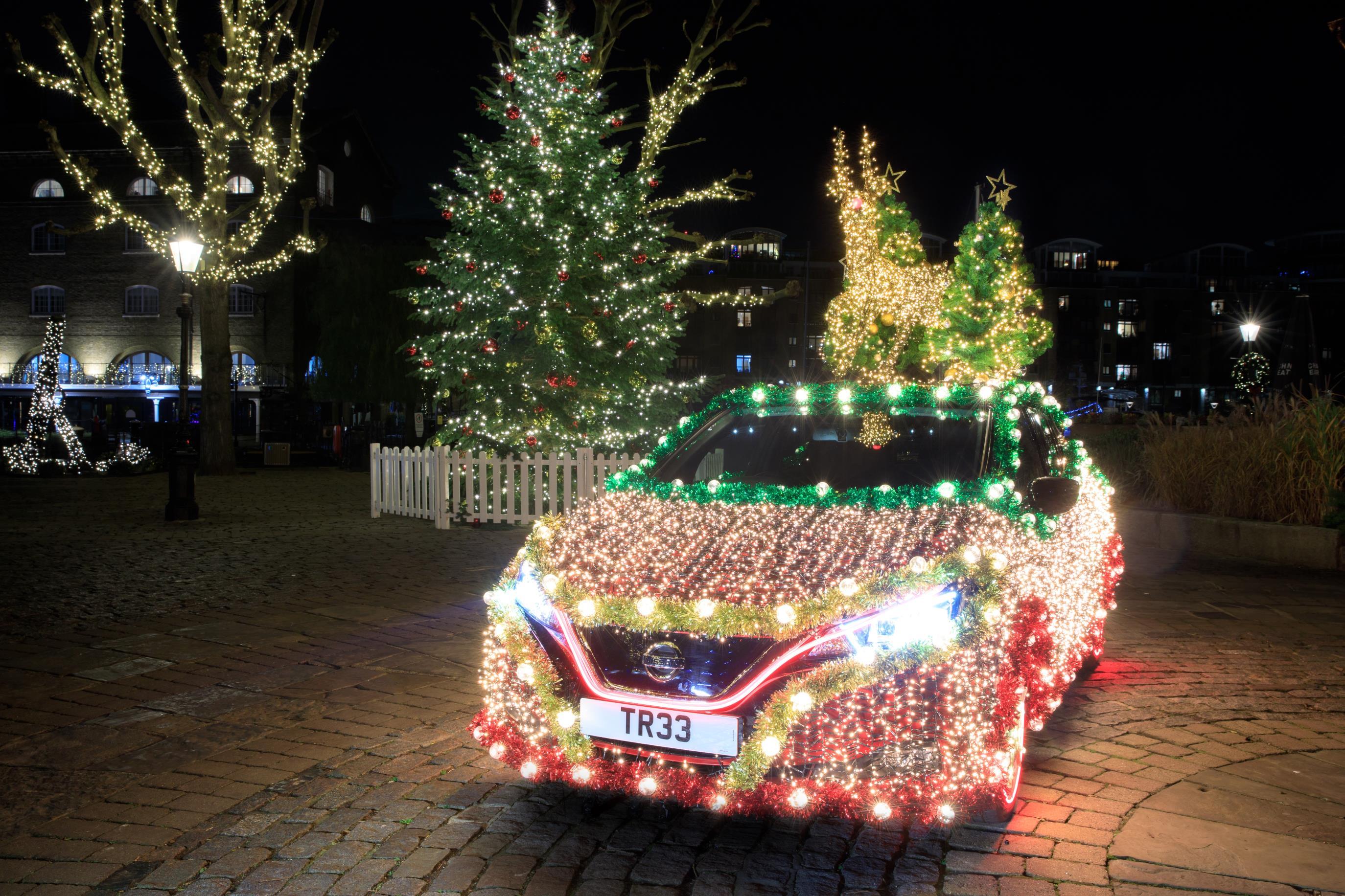The festive Leaf features hundreds of LED lights