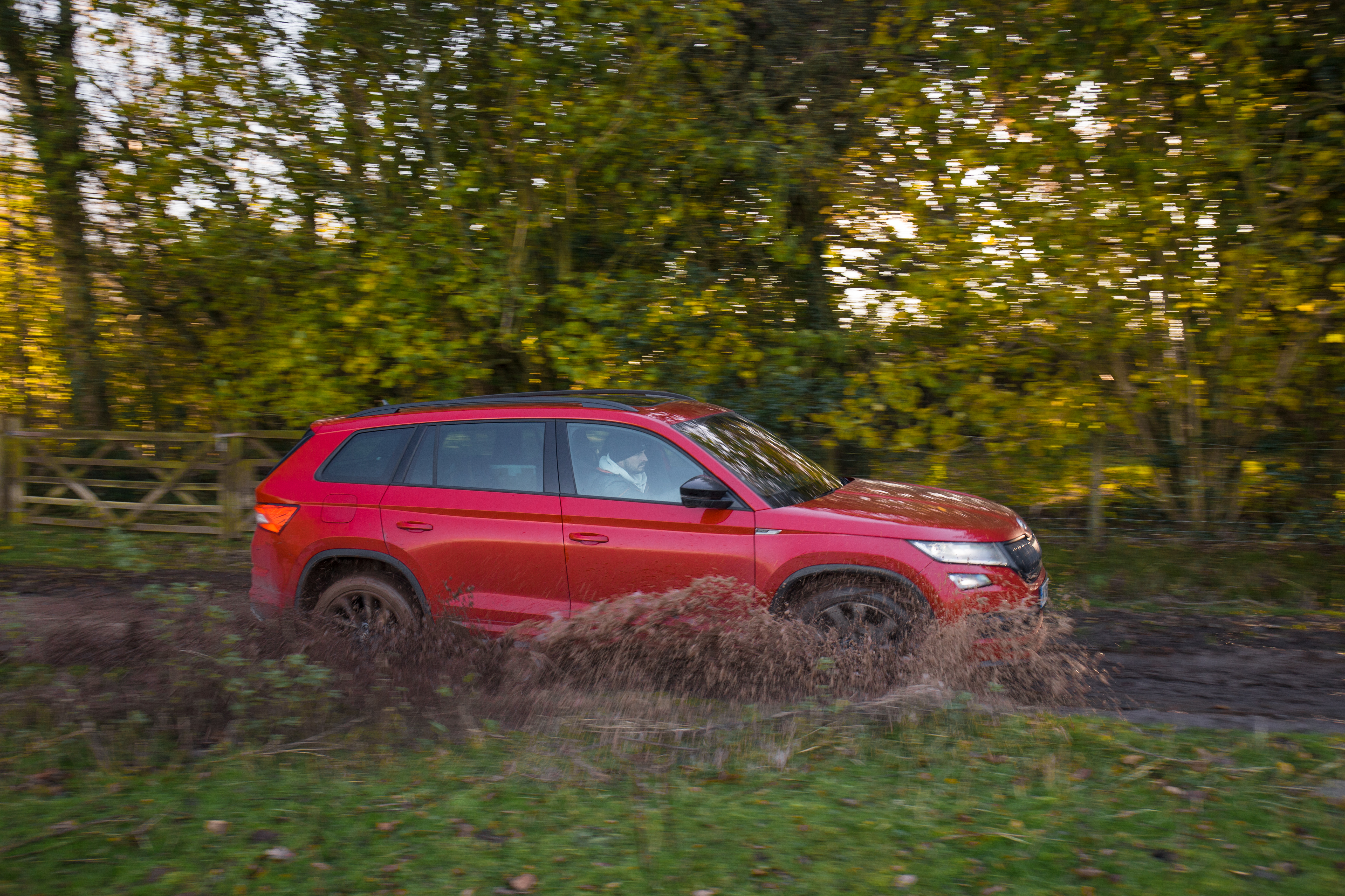 Even muddy lanes are no match for the Kodiaq