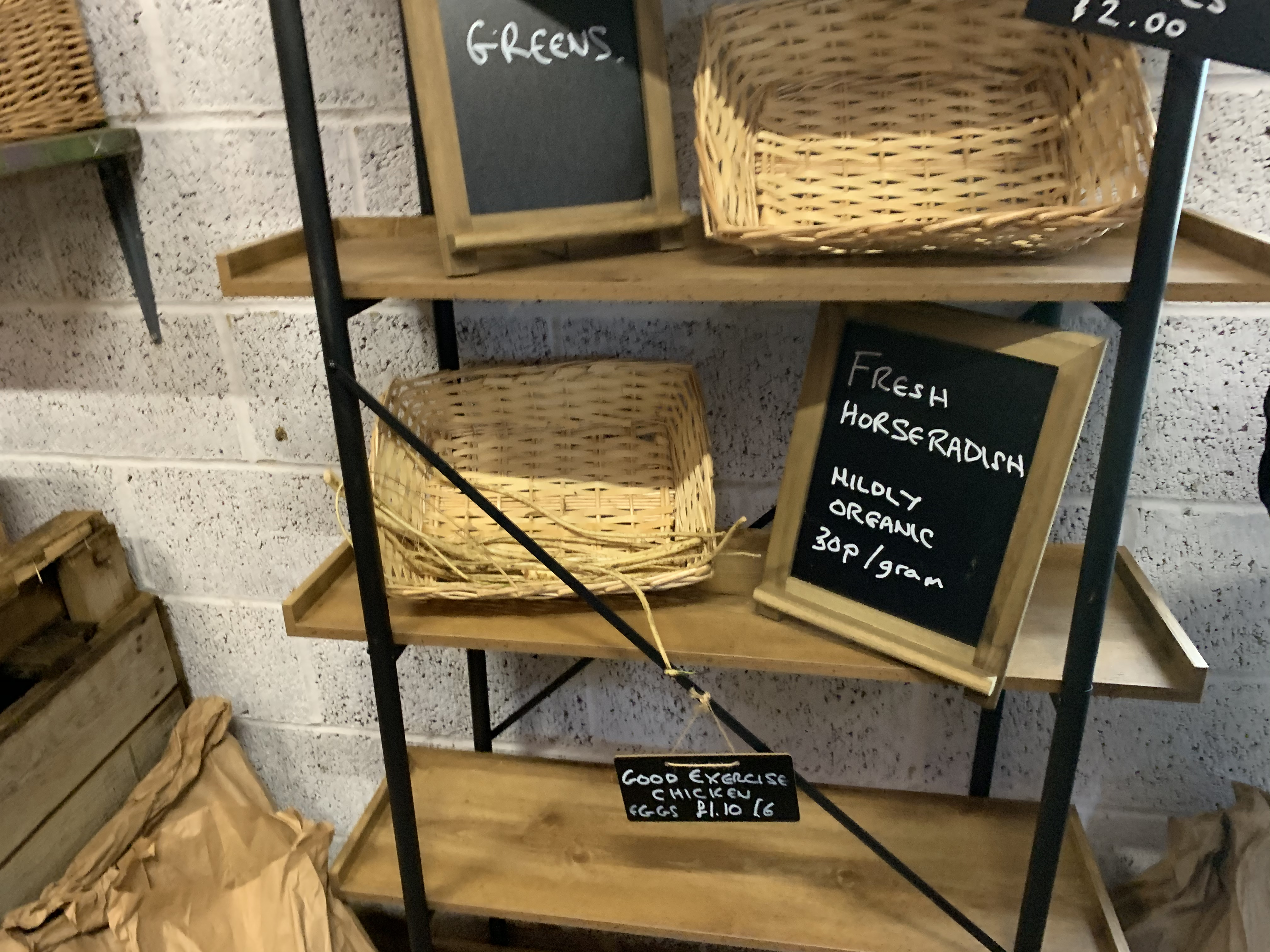 Empty shelves at Clarkson's farm shop