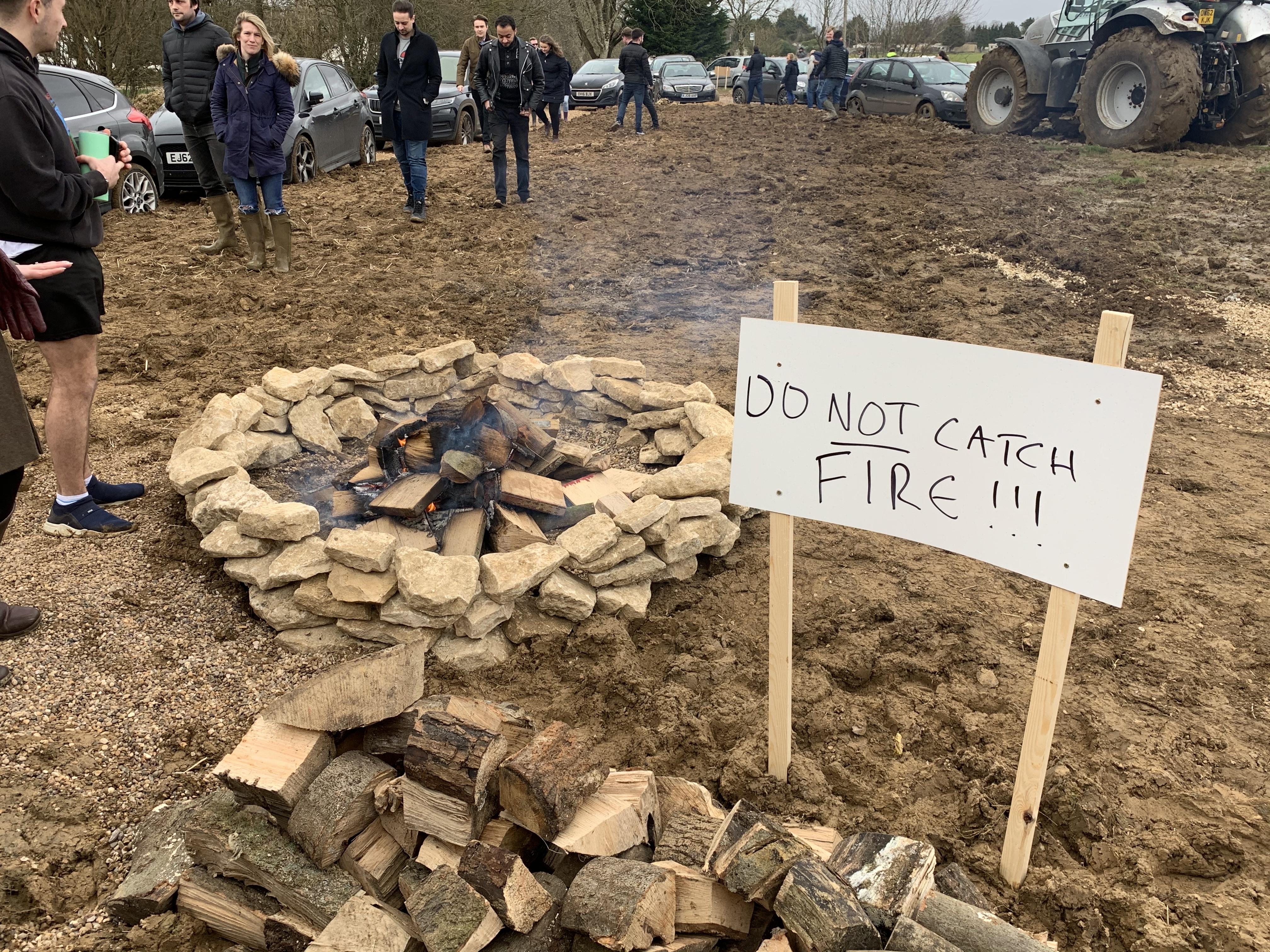 Safety signs outside Jeremy Clarkson's farm shop