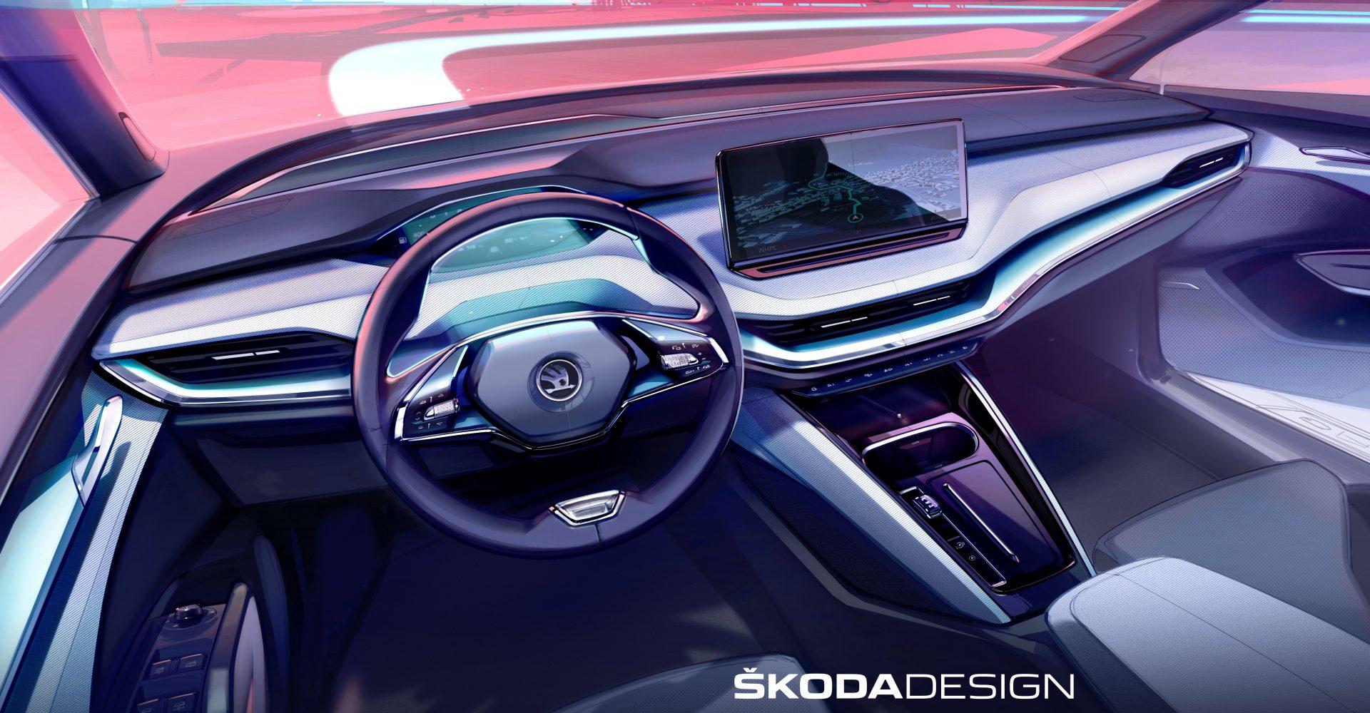 New Skoda Enyaq interior detailed in teaser image